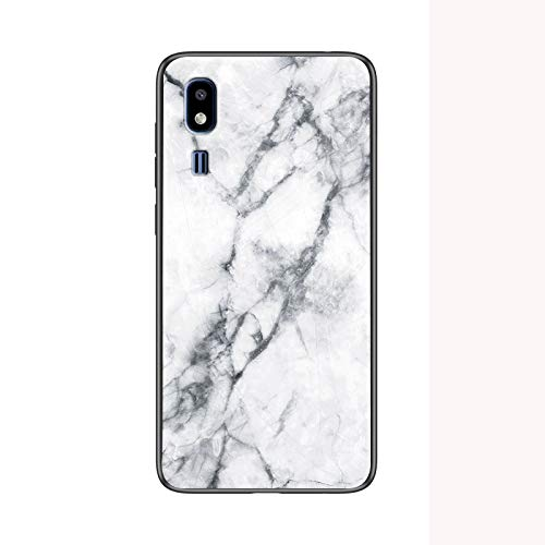 Funda para Samsung Galaxy A2 Core Marmol Case Tapa Trasera de Cristal Templado con TPU Edge Carcasa para Samsung Galaxy A2 Core (Blanco)