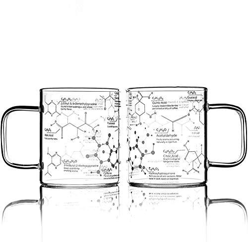 Greenline Goods Glas Kaffeebecher - 16 Unzen Becher Wissenschaft des Kaffeeglases - Geätzt mit Kaffee-Chemie-Molekülen