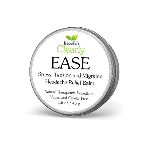 Isabella's Clearly Ease - All Natural Tension, Sinus, Stress Headache and Migraine Relief. Healing Therapeutic Essential Oils Reduce Pain, Pressure. Fast Acting Vegan Aromatherapy Balm. USA. 45 g