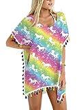 Loveternal Robe de Plage Licorne Femme Mousseline Maillot Pompon de Bain Cache-Maillots Unicorn Bikini Cover Up