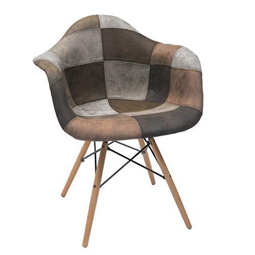 Homely - Sillón tapizado Patchwork Monet Tonos Arena, diseño nórdico-Vintage