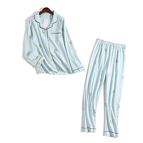 Winter Winter Nieuwe Vrouwen Katoen Gestreepte pyjama pak Lange mouwen Broek pyjama Warm Slaapmode Set