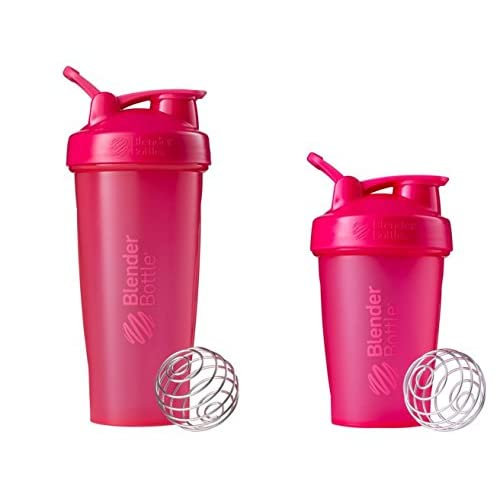 New Genuine 28oz + 20oz Pink Classic Blender Bottle Sundesa BlenderBottle Fitness Water Bottle Shaker Cup For Protein Shakes and other powder supplements with stainless steel wire whisk blenderball 2-Pack