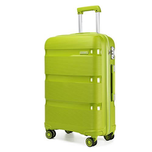 Kono Large Suitcase Hard Shell Travel Trolley 4 Spinner Wheels Lightweight Polypropylene Check in Luggage with TSA Lock (Green,76cm/100L)