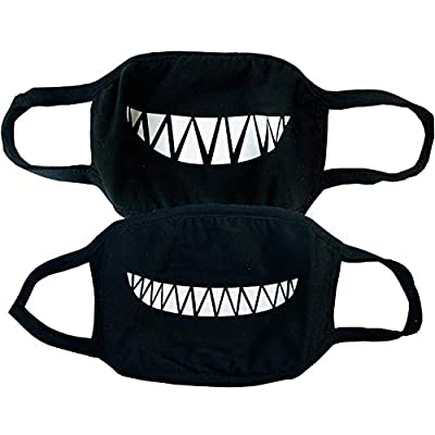 Set of 2 Smiley Mask with Smile Teeth Design Halloween Grin Smiling Happy Washable Cotton Black Funny Cover Fun Cool Couples Bandana For Men Women Teen Shark Costume by Millennials In Motion