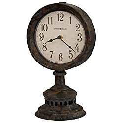 Howard Miller Ardie Mantel Clock 635-199 – Antique Black Finished Metal, Gray & Rusty Undertones, Distressed Dial & Numerals, Shatter-Resistant Crystal, Quartz Movement