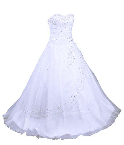 Vantexi Damen trägerlosen Abendkleid Organza Brautkleid Hochzeitskleider Weiß Größe 50