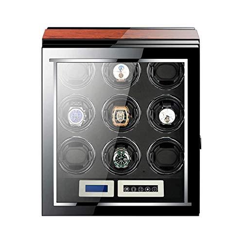 Caja enrolladora de Reloj Pantalla táctil LCD con iluminación LED integrada Motor silencioso japonés Caja de visualización de Almacenamiento de 9 Relojes