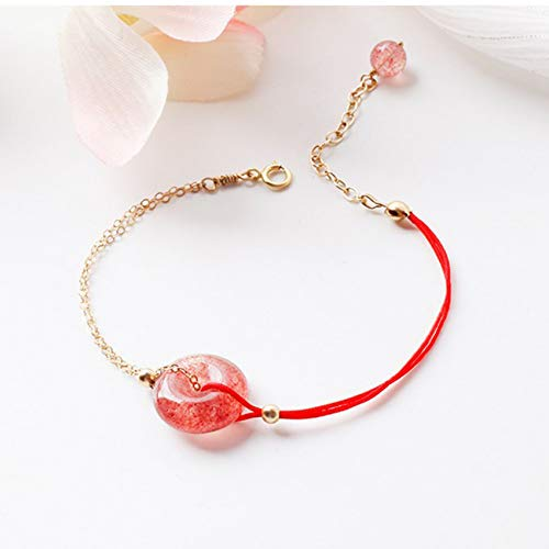 WCOCOW Douyin Feng Shui Strawberry Crystal Bracelet Red Safe Clasp Bangle Strong Talisman Amulet Attract Money Luck Warding-Off Evil Spirits Simple And Sweet