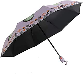 WHPSTZ Umbrella Cartoon Automatic Chinchilla Umbrella Children Sunscreen Black Gel Parasol Creative Folding Umbrella Umbrella (Color : Purple)