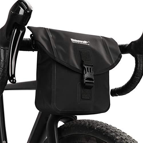 Rhinowalk Impermeable Bolsa de Manillar de Bicicletas de Carretera y de Montaña para Ciclismo con Correa de Hombro (Negro)