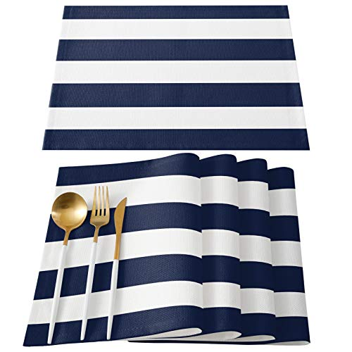 ARTSHOWING Set of 6 Placemats Heat-Resistant for Dining Table Linen Table Mats Nautical Stripe Rectangle Pad Placemat 12 x 18 Inch - Navy Blue White Stripes
