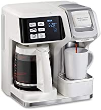 Hamilton Beach FlexBrew Trio 2-Way Single Serve Coffee Maker & Full 12c Pot, Compatible with K-Cup Pods or Grounds, Combo, White