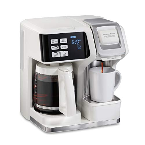 Hamilton Beach FlexBrew Coffee Maker, Single Serve & Full Pot, Compatible with K-Cup Pods or Grounds, Programmable, White (49947)