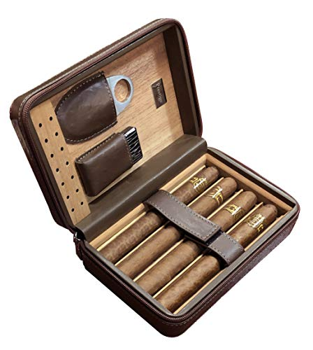 Prestige Import Group - The Manhattan Ostrich Motif Leather Travel Humidor Cigar Case with Zipper Closure - Color: Brown