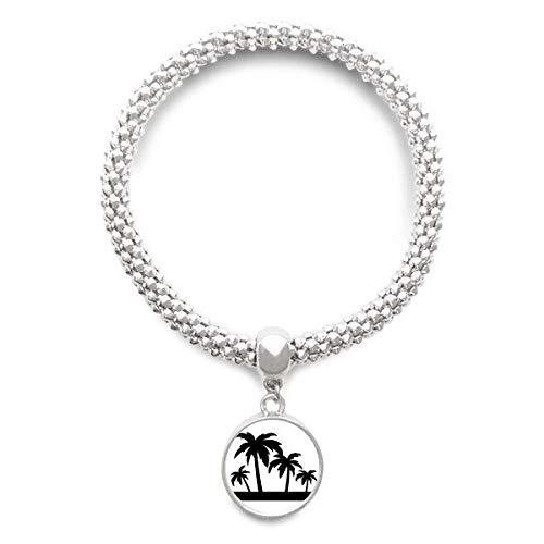 DIYthinker Damen Schwarz Pflanze Kokosnuss-Baum-Silhouette Sliver Armband Laufende Anhänger Schmuck-Kette