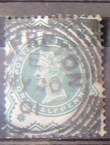 Great Britain 1900 QV Jubilee 1/2p halfpenny blue green colour change ALFRETON...