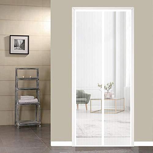 ERPENG Anti-Mücken-Vorhang 85x190cm Magnetverschluss faltbar Fliegenschutzvorhang Vorhang kinderleichte Klebemontage Ohne Bohren für Wohnzimmer Schiebetür Terrassentür, Weiß