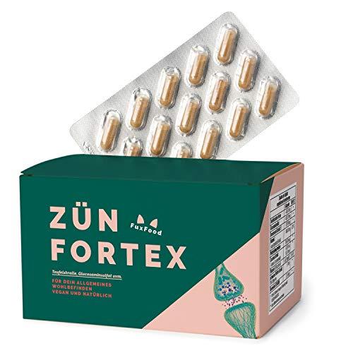 ZÜNFORTEX - Das natürliche Kombipräparat - Mit hochdosiertem MSM, Glucosaminsulfat und Teufelskralle - 120 vegane Kapsel (Monatspackung) - Mögliche Alternative zu Ibuprofen und Diclofenac
