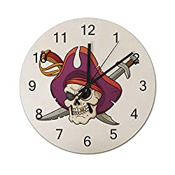 Pirate Skull and Crossed Swords Silent Non Ticking Wall Clock, Wooden Decorative Round Wall Clock Battery Operated