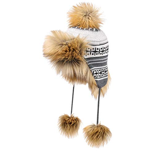 Eisbär Opheli Lux Strickmütze Inkamütze Ohrenmütze Lapplandmütze Wintermütze Bommelmütze (One Size - grau)