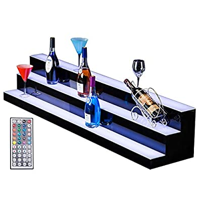 SUNCOO 24 Inch 3 Step LED Lighted Liquor Bottle Display Illuminated Bottle Shelf 3 Tier Home Bar Drinks Lighting Shelves with Remote Control