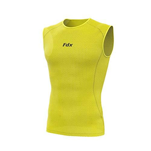 FDX - Maglia da uomo senza maniche a rete leggera, per corsa, fitness, ciclismo (giallo, XX-Large)