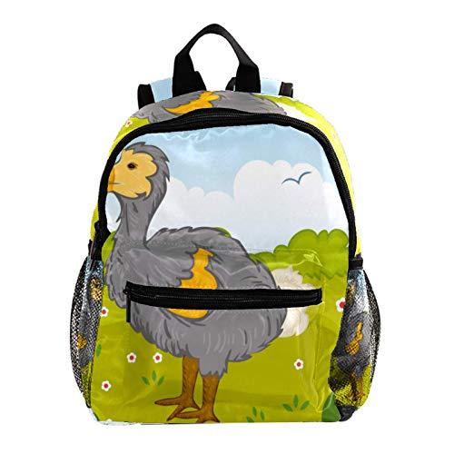 Mochila escolar para niños y niñas, diseño de pájaro Dodo en el parque