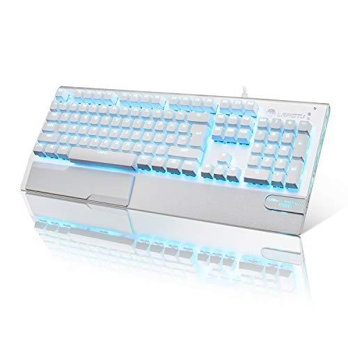 Mechanische Tastatur Weiß LANGTU Mechanische Gaming Tastatur mit LED Hintergrundbeleuchtung QWERTY (US-Layout) Anti-ghosting Blaue Schalter Tastatur, Ganzmetall-Panel mit Handballenauflage 104 Tasten