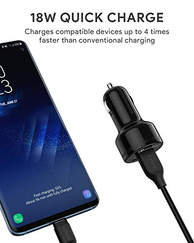 Aukey CC-T8 Car Charger with Dual Quick Charge 3.0 Ports - Black