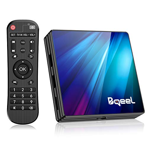 Bqeel Android TV Box 9.0 4GB RAM 64GB ROM, R1 Plus Android Box RK3318 Quad-Core 64bits Dual-Band WiFi 2.4G/5G BT 4.0 3D 4K Ultra HD H.265 USB 3.0 Smart TV Box
