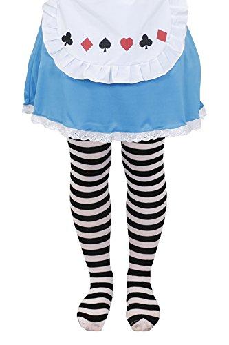 ILOVEFANCYDRESS Une Paire de Collants Blanches et Noires à Rayures pour Enfant. Idéal pour compléter Le déguisement d'Alice aux Pays Merveilleux. ( 4/7ans )