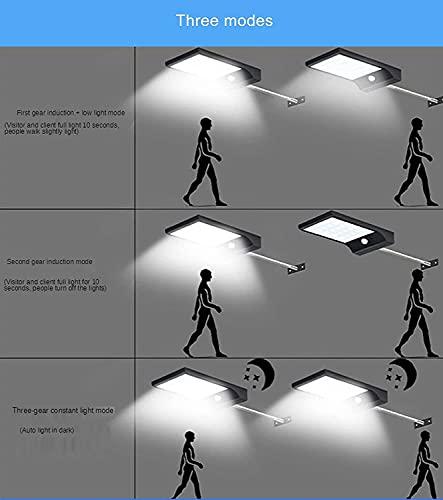 Iluminación de exterior Luz solar de la pared con 3 modos de iluminación DUS inalámbrico a prueba de agua para amanecer luces de pared al aire libre para jardín patio patio cubierta garaje cerca garaj