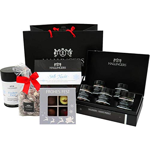 Hallingers Geschenk-Set mit Tafel Schokolade, Pralinen, Nougat-Mandeln und Tee (340g) - Groß No. 01 (Große Genusstasche) - zu Weihnachten