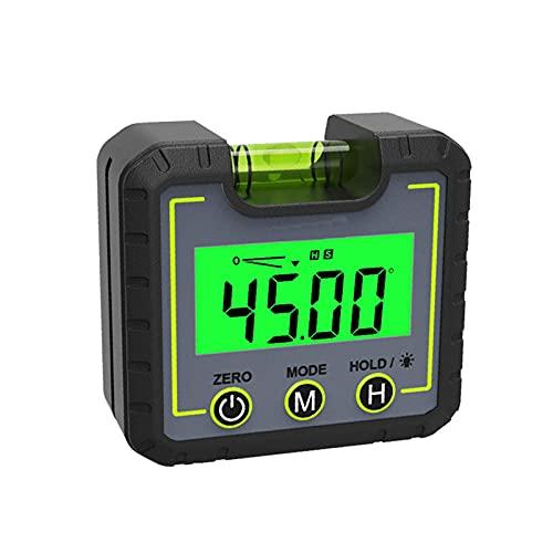 Medidor de ángulo de nivel digital, mini caja de nivel de buscador de ángulo con base magnética de ranura en V y retroiluminación LCD inclinómetro de indicador de bisel