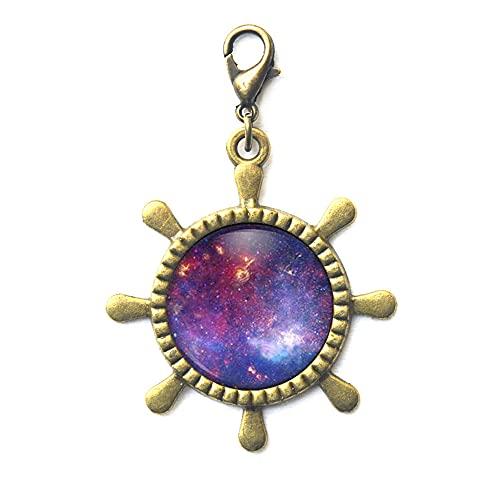 Cierre de langosta de Nebulosa con cierre de cremallera para timón de la vía lechosa, joyería espacial morada, cierre de langosta de cristal, regalo de cumpleaños para dama de honor JV227