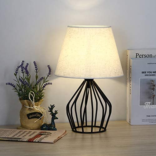 HAITRAL Farmhouse Lamp Mid Century Modern Table Lamp Black Metal Hollow Out Base Small Nightstand product image