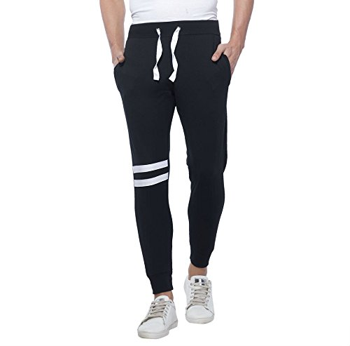 Alan Jones Clothing Men's Joggers (Jog-Trim-L, Black, Large)