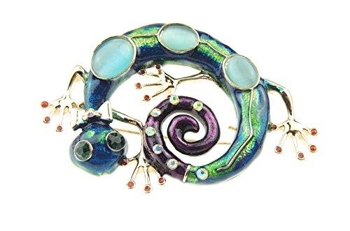 Material para mujer turquesa verde Morado y baratas de Lagarto Gecko 6 cm Evening broche con forma de