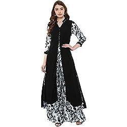 Ziyaa Womens Black Colour 3/4Th Sleeve Rayon Flared Kurta Palazzo Set