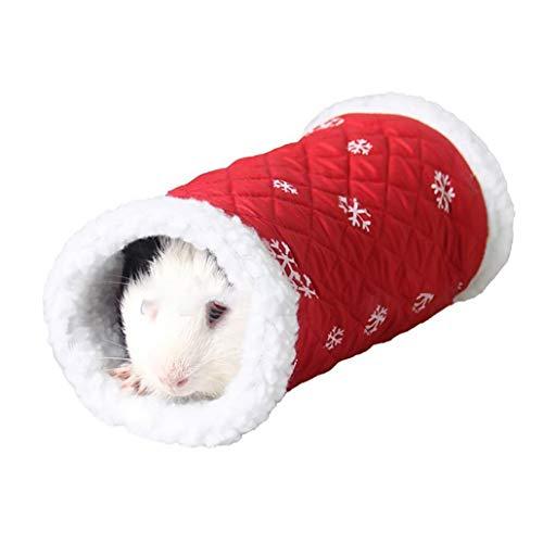 Pequeñas Mascotas Túnel Animal Invierno Juguete Caliente paño Grueso y Suave del Tubo escondite Cama Que Juega al túnel de hámster/Jerbo Rata (Rojo)
