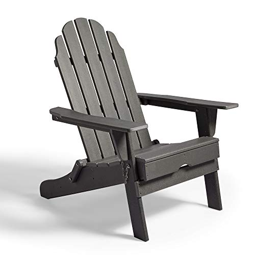 VonHaus Folding Adirondack Chair – Traditional Wood Effect - Made from Durable All Weather Eco-Friendly Recycled Material - Outdoor Garden Furniture for Patio, Decking, Lawn – Grey