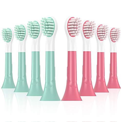 8er mini Ersatzbürsten kompatible für Sonicare for Kids elektrische Kinderzahnbürsten, HSYTEK mini Bürstenköpfe für Kinder,733-Grün/rot