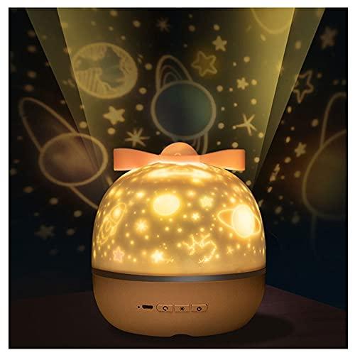 Miffen Lámpara Proyector Estrellas, 360° Rotación Músic Lampara con Temporizador Led Pantalla Y Control Remoto, Modos Romántica Luz De La Noche, Perfecto Regalo para Bebés