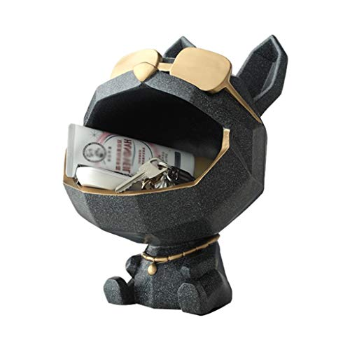 Bandejas Oficina Multifuncional Gafas Perro Bandeja Vaciabolsillos, Organizador de Llaves Bolsillo Teléfono Moneda Cambiar Relojes y Plato de Caramelo Soldries Entryway Bowl (Color : Gray)