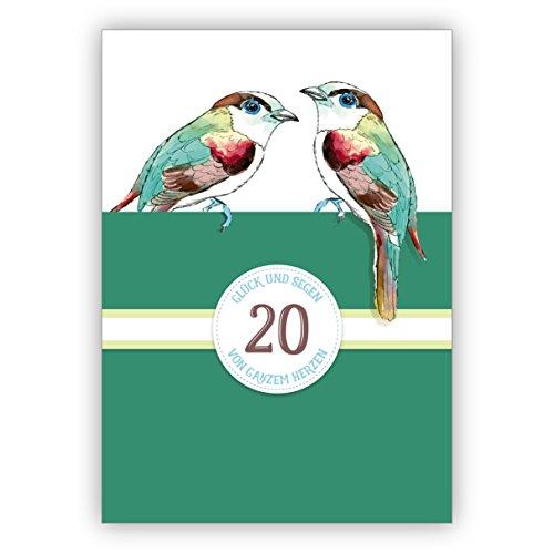 In 5-delige set: Fijne klassieke verjaardagskaart voor de 20e verjaardag of porselein bruiloft, doornenbruiloft, 20 jaar huwelijk jubileum met vogels in groen: 20 geluk en zegen van het hele hart