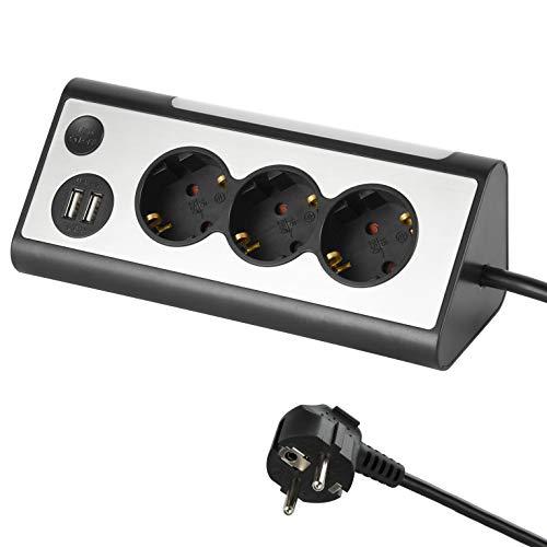 Electraline 62512 Multipresa ad Angolo Multifunzione con 3 Prese Schuko/Tedesca, 2 Porte USB con Interruttore Luce Notturna LED On/off, Cavo 1.5 Metri, Nero