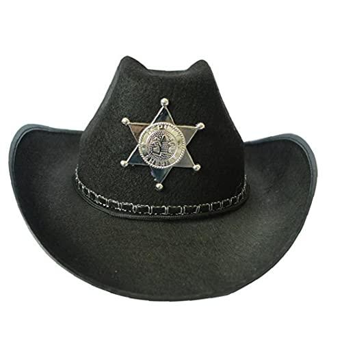Onsinic Divertido Gorra Vaquero Cosplay Sheriff Hat Cattleman Disfraz Disfraz Fancy Vestido para Bar Club Halloween Party