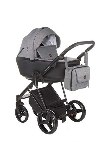 Poussette combinée Adamex Cristiano + sac à langer avec matelas à langer + film + moustiquaire + porte-gobelet et manchons d'hiver (CR-240 gris roche noir, 3 en 1)