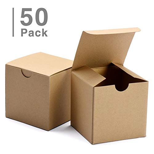 """GSSUSA Small Gift Boxes 50Pack 4x4x4"""" Brown Gift Boxes with Lids for Gifts, Crafting, Cupcake Boxes"""